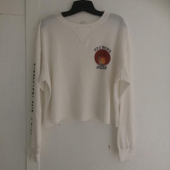 Brandy Melville Tops - Brandy Melville White thermal Laila st croix Shirt 46fe9d538